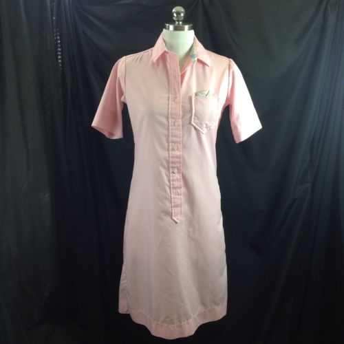 1980s Ejm Ltd Pink Pullover Shirt Dress New Wave Preppy Plaid Pocket Square S