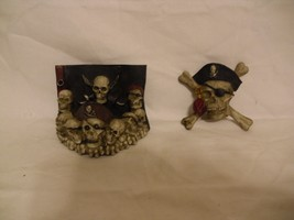 LOT OF SKULL ITEMS(MAGNET, TWO CELL PHONE HOLDERS & CANDLE HOLDER)NEW - £9.01 GBP