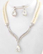 Bridal white pearl necklace set teardrop clear glass crystal pendant ear... - $20.78