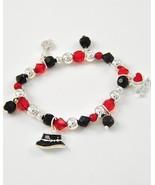 Kids girl black red charm stretch bracelet I lo... - $9.89