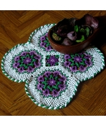 Purple Flower Celtic Woven Mat - Irish Crochet ... - $29.00