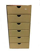 6 drawer mini cardboard storage bins thumb200