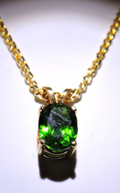 Gorgeous Faceted Chrome Diopside 14k Gold Plated Pendant  Necklace - $65.00