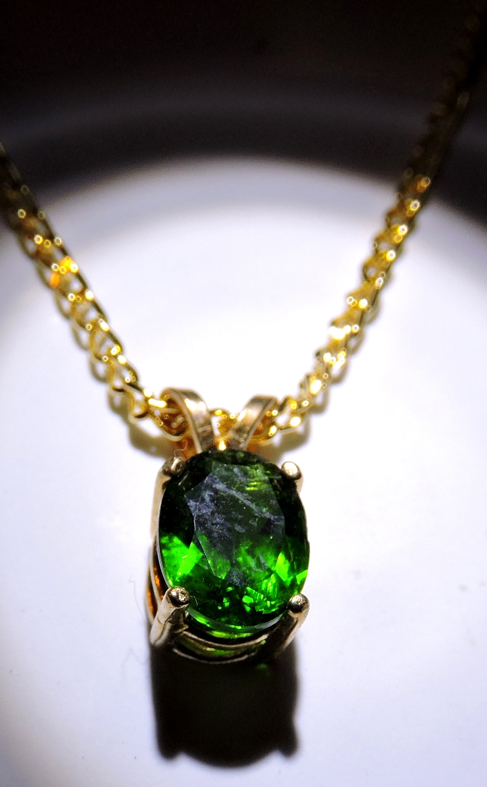 Gorgeous Faceted Chrome Diopside 14k Gold Plated Pendant  Necklace