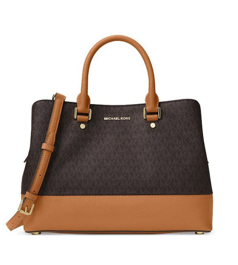 478e8088b835 Michael Kors Savannah Large Satchel tote Saffiano Leather logo brown NWT