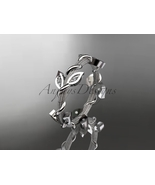 Diamond wedding band, 14kt white gold diamond leaf wedding ring, engagem... - $630.00