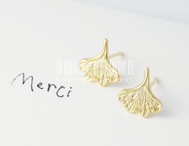 Ginkgo leaf earrings, Ginkgo earrings, leaf earrings, minimalist jewelry. - $8.90
