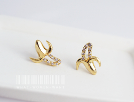 Banana earrings with CZ stone, banana earrings, cute earrings, fruit jew... - $10.80