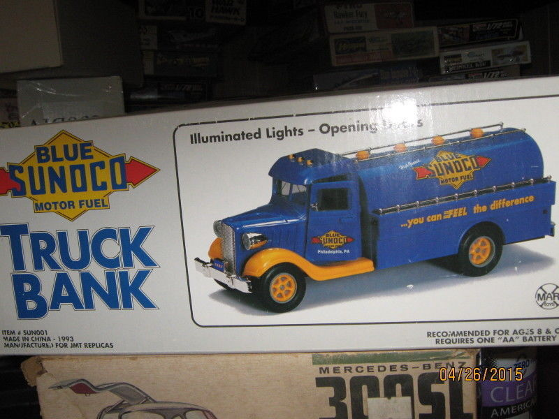 1993 LE Marx Toys Trucks Blue Sunoco Motor Fuel Truck Bank-FREE SHIPPING1993 ...