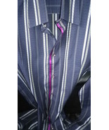 Mens casual shirt, navy/grey stripe textured weave high count cotton, e... - $29.50