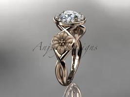 Unique 14kt rose gold diamond flower wedding ring, engagement ring ADLR219 - $1,275.00