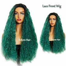 """Dark Root Omber Green (24"""" Dark root omber green curly hair lace front w... - $50.57"""
