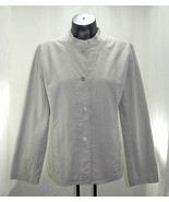 Eileen Fisher Beige Cotton Stand-Up Collar Silver Snap-Front Jacket -Wom... - $21.80