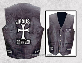 Mens Black Leather Christian Cross Jesus Forever Religious Motorcycle Ve... - $29.95