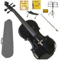 Crystalcello 1/8 Size Acoustic Black Violin , Black Stick Bow, Black Music Stand - $70.00