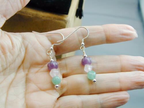 DrT Jay King Pink Green Purple Carved Jade Dangle Earrings NIB