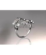 Unique wedding band, 14k white gold diamond leaf and vine engagement rin... - $675.00