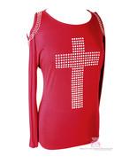 Vocal Red Embellished Bling Bat Wing Bare Shoulder Showstopper Cross T-S... - $45.00