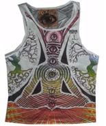 Men tank Top Sleeveless white 100% Cotton Graphic Buddha Chakra Yoga  M MIRROR - $12.86
