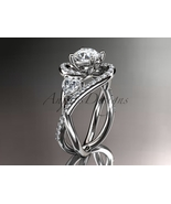 Unique 14kt white gold diamond moissanite engagement ring ADLR320 - $2,220.00