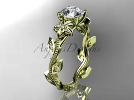engagement ring,14kt  yellow  gold diamond leaf and vine wedding ring, engagemen - $975.00