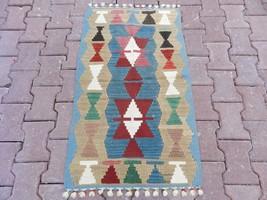 Antique Turkish Kilim Rug Geometric Desings Vegetable Dyes Kayseri Kilim... - $98.01