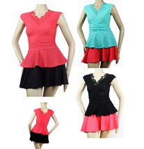Pleated Body,Double V Neck Cute BLOUSE Lace Trim,Stretch,Slim Peplum Casual Top - $19.99