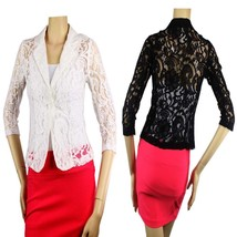 Floral Lace One-Button Sexy BLAZER Stitched Arms 3/4Slv Casual Shape Top... - $23.99