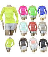 Cute Fishnet Long Slv Trendy Top,Bikini Cover,GoGo Dance,Stretch One Siz... - $8.99
