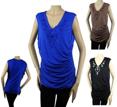 Short Sleeve BLOUSE w/ Rhinestone Pleated Side, Stretch Casual Top Plus - $22.99