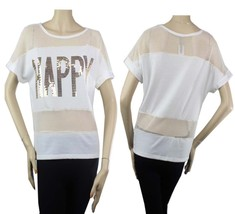 Happy Sequins,Fish Net Color Block Boat Neck Blouse Stretch Woman Casual... - $20.99