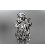Unique platinum diamond floral wedding ring, engagement set ADLR238S - $1,400.00