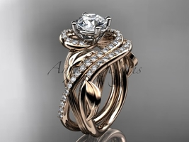 Unique 14kt rose gold diamond leaf and vine engagement ring set ADLR222S - $2,645.00