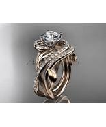 Unique 14kt rose gold diamond leaf and vine engagement ring set ADLR222S - $2,645.00