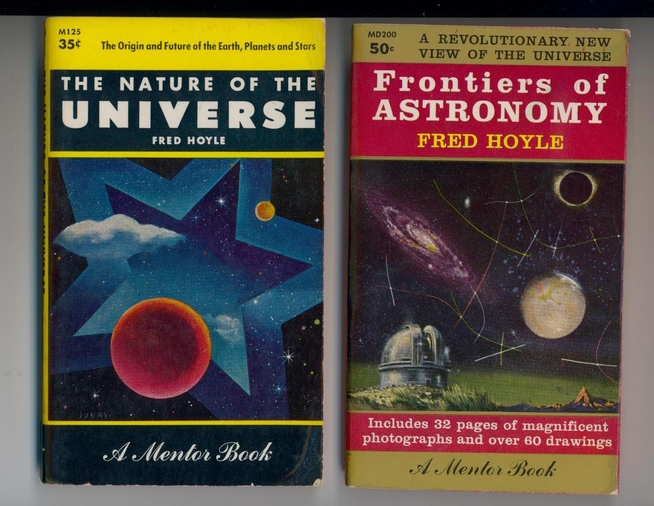 2 Early Astronomy Books by Fred Hoyle--illustrated Bonanza