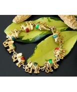 Vintage Elephants Links Bracelet Gold Tone Enamel Figural Circus - $18.95