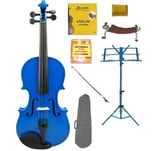 Crystalcello 1/8 Size Acoustic Blue Violin , Blue Stick Bow, Blue Music Stand - $70.00