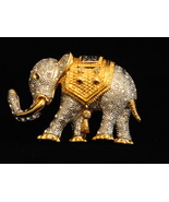 Large Rhinestone Encrusted Goldtone Moghul Howda Elephant Brooch With Mo... - $70.00