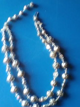 Vintage Jewelry Necklace Silvertone Rose Bead Double Strand Necklace Choker - $59.99