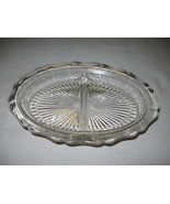 Glass Divided Relish Nut Candy Dish Scallop Rim... - $7.95