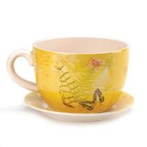 "*16838B  Yellow Garden Butterfly Dolomite 11"" Teacup Planter w/ Drain Hole - $33.25"