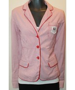TH Hilfiger Sear Sucker Red/White Cotton Women's Blazer Fully Lined Medium - $32.36