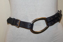 NWT RL Lauren Womens Leather Black Belt Size Small With Solid Brass Buckle - €25,67 EUR