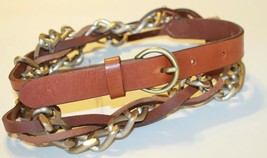 Esprit Women's Braided Leather And Metal Belt Size Medium Made In Italy - $23.01