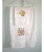 New Handmade OOAK 2 piece Bathroon Set, Bath and Hand Towel Kitty Cats - $15.99