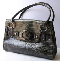 Guess Hunter Green Faux Crocodile Hand Bag Purse Tote Mock Croc Metal G ... - $40.00