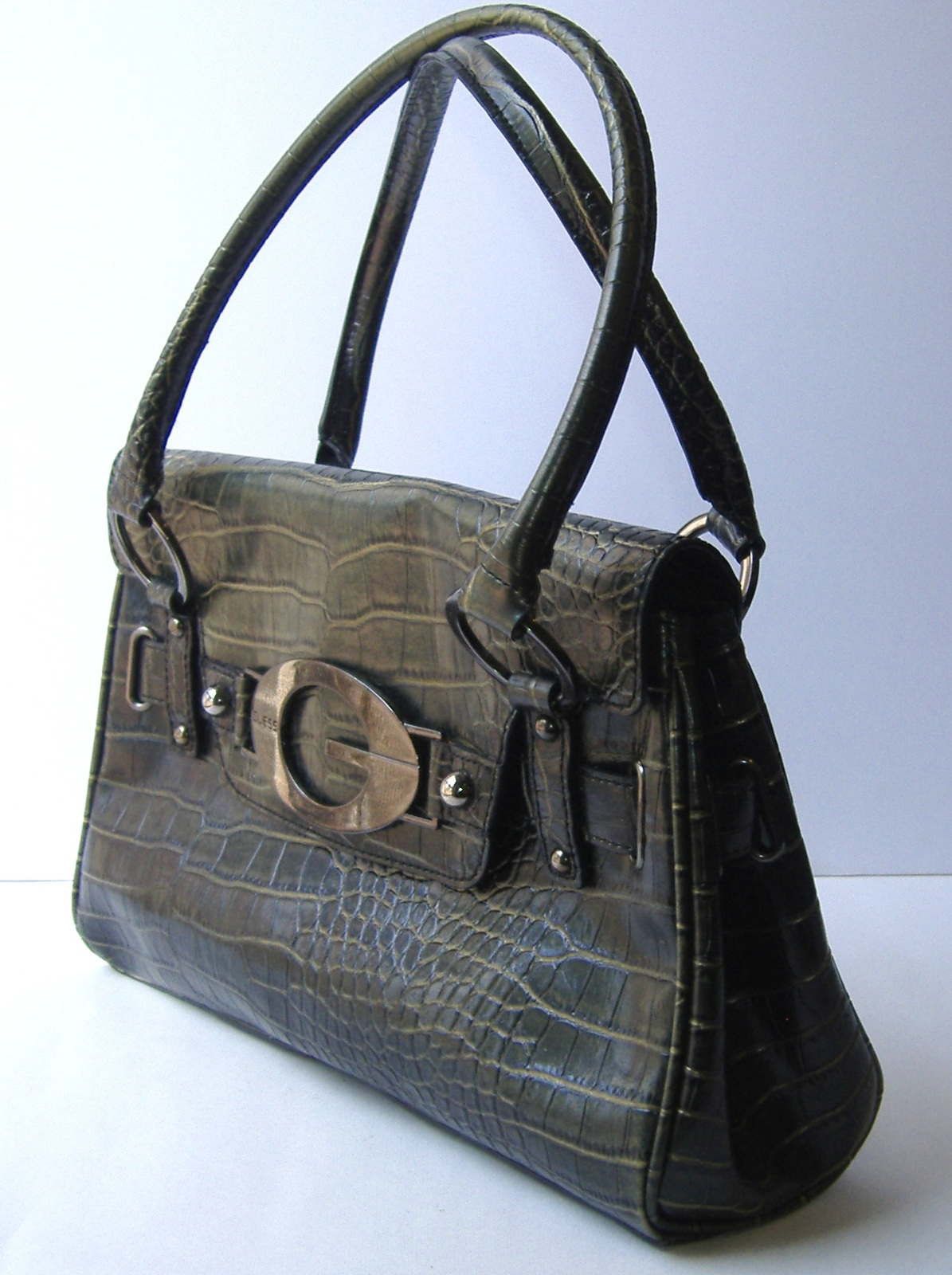Guess Hunter Green Faux Crocodile Hand Bag Purse Tote Mock Croc Metal G Pockets