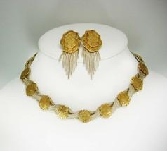 Sterling Gold Byzantine necklace Earrings pierced Chandelier medallion fringe - $525.00