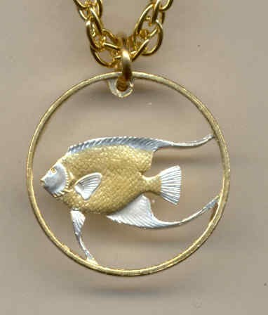 "Bermuda 5 cent ""Angel fish"", cut coin pendant with 14k necklace"