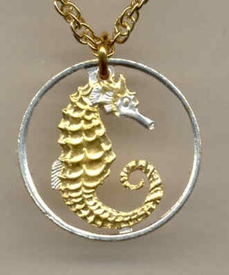 "Singapore 10 cent ""Sea horse"",  cut coin pendant with necklace"